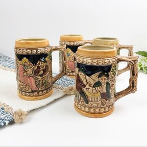 Vintage German Style Colorful Beer Stein Set (4)
